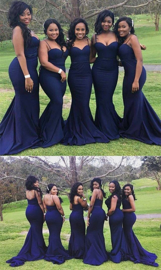 5611e9b5eeb Nice Navy Bridesmaid Dresses Spaghetti Straps Mermaid Navy Blue Long ...