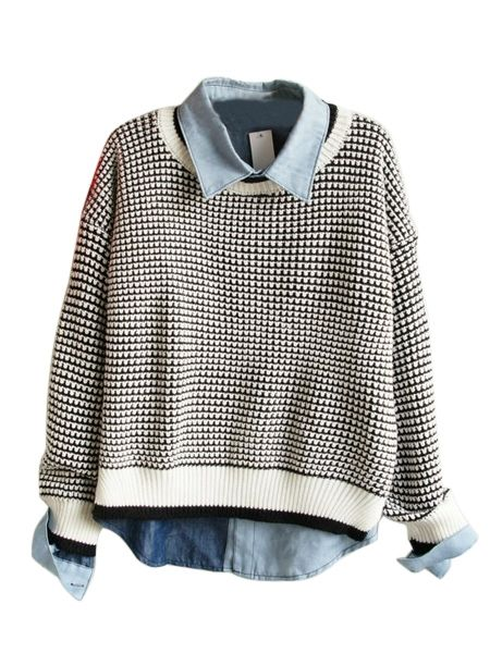 Sweater and denim shirt layering. Looking forward to fall fashion!
