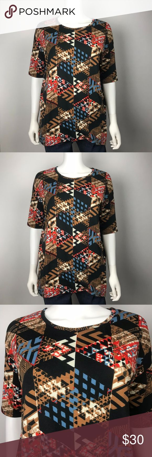 """Lularoe Abstract Geometric Print Irma Top Size- XXS  Condition- Gently worn, no visible flaws.  Measurements: Shoulder to shoulder- 23"""" Armpit to armpit- 48"""" LuLaRoe Tops Tees - Short Sleeve"""
