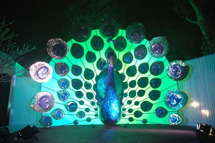 Themed Wedding Stage Decoration Ideas : Peacock themed wedding stage decoration set and