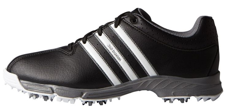 adidas JR 360 Traxion Golf Cleated (Little Kid/Big Kid), Core Black/FTWR White/Iron Metallic, 2 M US Little Kid. Classic adidas inspired design.