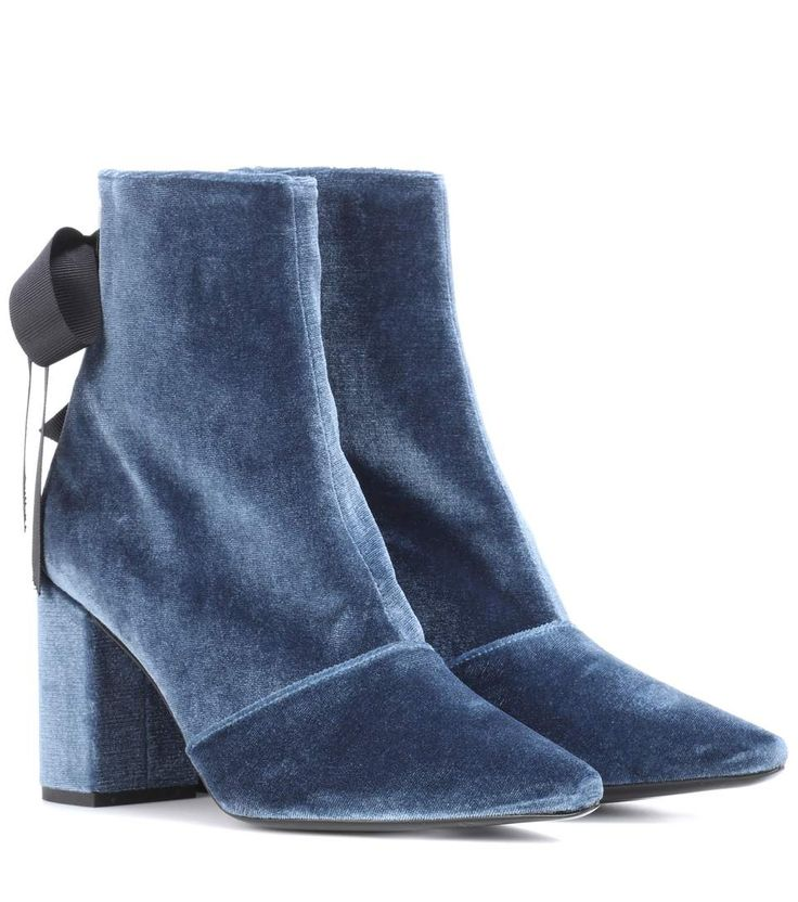 SELF-PORTRAIT | X Robert Clergerie Karlit velvet ankle boots #Shoes #Ankle boots #Mid-heel #SELF-PORTRAIT