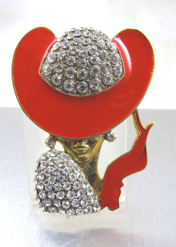 Vintage art deco style brooch woman rhinestone red enamel for Red hat bling jewelry