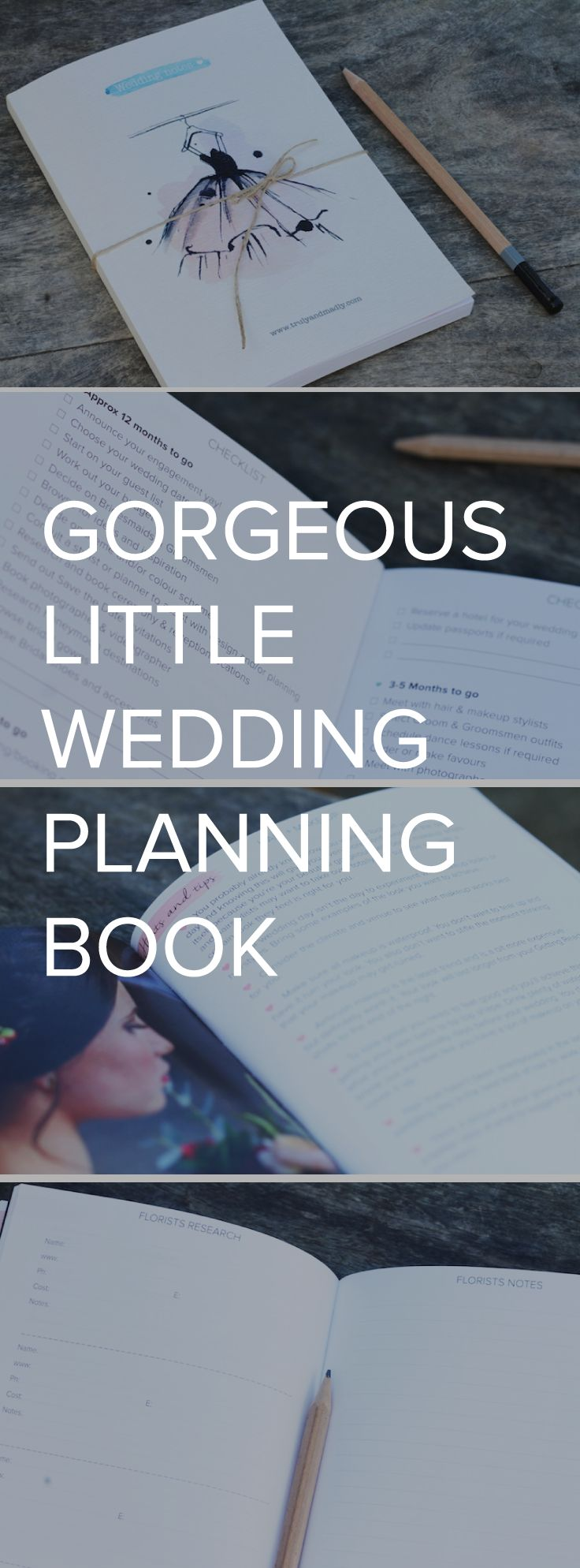 Check it out! Our very own, Truly and Madly wedding planning notebook! It's like a mini-mag + journal + wedding guide all-in-one and it's awesome! Complete with a checklist, 16 sections, hints and tips, plenty of room for all your notes and ideas, detailed worksheets and splashes of pretty to inspire you. Plus it's the perfect size to pop in your handbag so you can carry it with you from one appointment to another!  https://www.etsy.com/nz/listing/208463123/wedding-planning-notebook