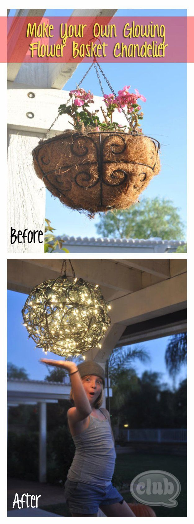 DIY Porch and Patio Ideas - DIY Flower Basket Chandelier - Decor Projects and Furniture Tutorials You Can Build for the Outdoors -Swings, Bench, Cushions, Chairs, Daybeds and Pallet Signs  http://diyjoy.com/diy-porch-patio-decor-ideas
