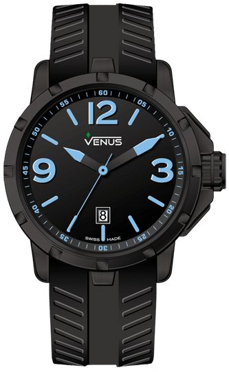 Chroma Collection for Gents - Black and blue super luminous Water Resistance: 100 meters (330 feet) Dial: Matt black with blue super luminous Arabic numerals and indexes Hands: Crystal: Sapphire Case-back: Secured by 6 screws Crown: Screw - locked with side protections and a recessed rhombus logo  Internal telescopic mechanism for crown axle protection Strap: Anti-allergic black rubber