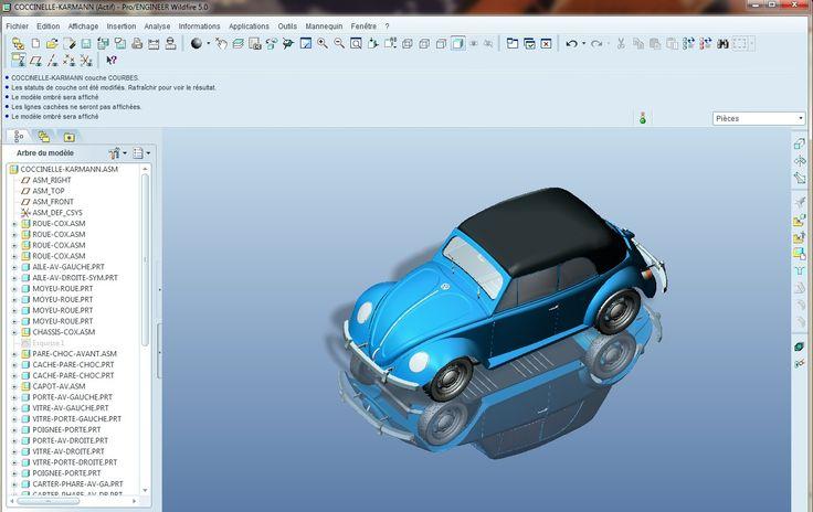 2ème Prix du Challenge :Coccinelle Cabriolet Karmann par s.b.  « Voici la version que j'ai réalisé de la Coccinelle Karmann. Elle est entièrement construite en 3D Volumique, pièce par pièce sous Pro/Engineer Wildfire 5. J'ai utilisé les images fournies pour le challenge pour la forme extérieure générale et j'ai beaucoup fait de recherches sur internet.»  CAO CAD 3D Design Lynkoa Pro/Engineer Wildfire 5 Wildfire5  Car Voiture Coccinelle Cox Karmann Cabriolet