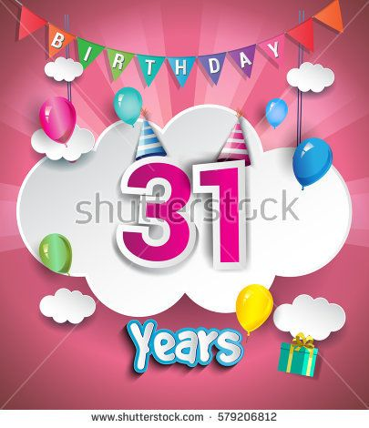 31st Anniversary Celebration Design, with clouds and balloons. using Paper Art Design Style, Vector template elements for your, thirty one years birthday celebration party.
