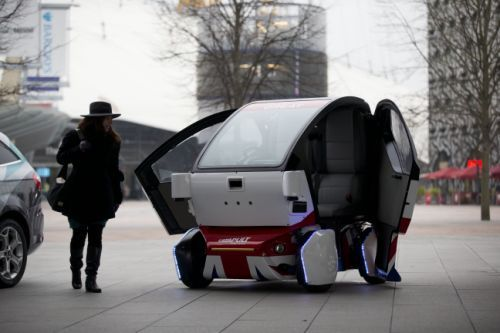 Prototype driverless car called a LUTZ (Low-carbon Urban Transport Zone) Pathfinder Pod.