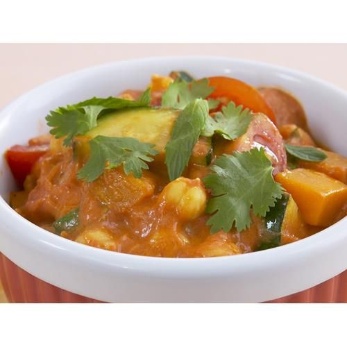 Chickpea, zucchini and pumpkin curry recipe. This delicious vegetable and bean curry can be served as a side dish or as a main dish in its own right.