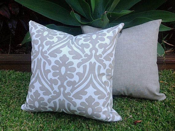From Fabric Modern Outdoor Cushions Cover Only Grey Pillows