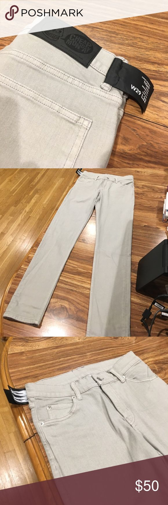 Cheap Monday Jeans Light grey tight fitting skinny jeans. Great summer color. Never worn and with tags. Medium rise. Slim fit and slim legs. Cheap Monday Jeans Skinny