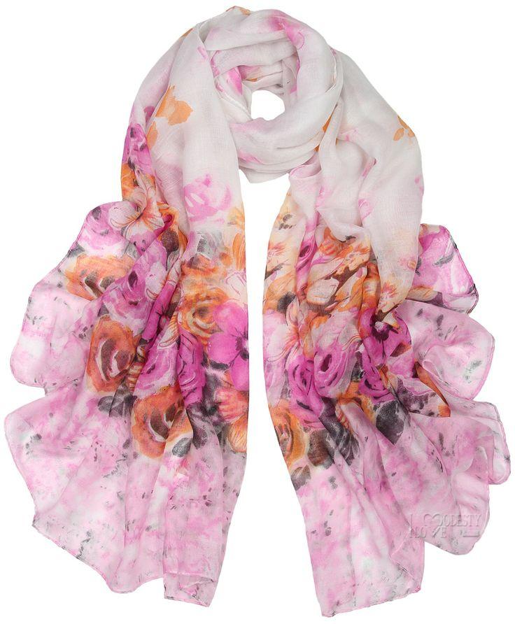 Lilac Flower Print Maxi Hijab