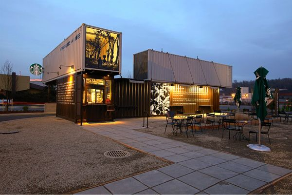 Part of a growing initiative to encourage green building in retail, Starbucks' new LEED certified Reclamation Drive-Thru is made from the shipping containers they use to transport coffee and tea around their global empire