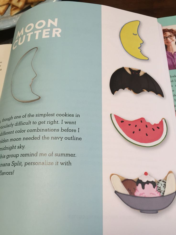 Decorated cookie ideas using a moon cutter.  Banana Split, Watermelon slice and bat