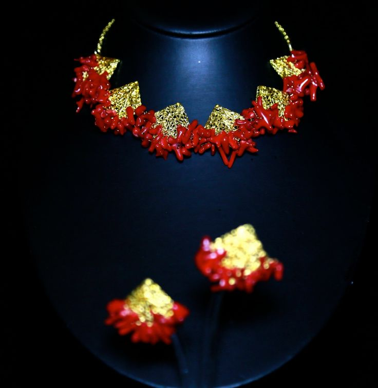 Red Coral branches studded gold plated choker necklace set by AutumHues on Etsy