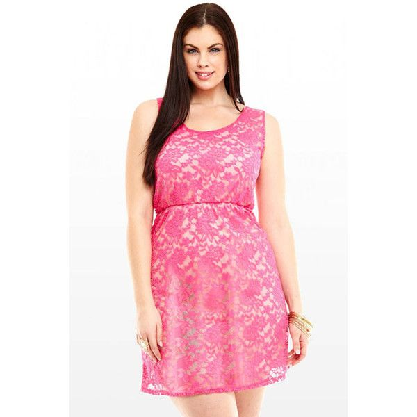 Pink Crochet Lace Cutout Back Casual Dress ($22) ❤ liked on Polyvore featuring dresses, pink, no sleeve dress, stretch dress, pink day dress, pink sleeveless dress and stretchy dresses