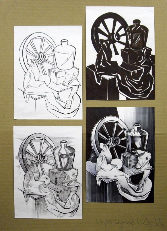 Drawing studies by students of St. Petersburg State Art and Industry Academy, Russia