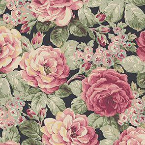 Bavlněná látka Velké růže na černé Prima