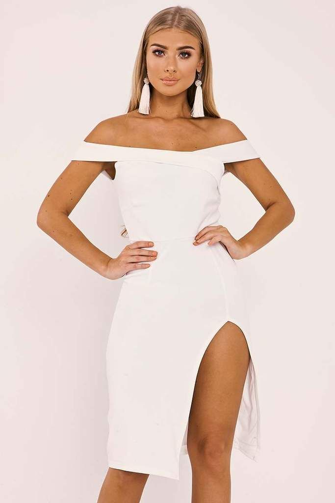 97bed93a0f Dresses - Billie Faiers White Bardot Wrap Front Side Split Midi Dress