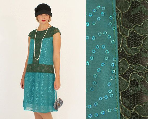 Sequined flapper dress in dark turquoise and dark green, lace and beaded Great Gatsby dress, Downton Abbey style dress, 1920s flapper dress on Etsy, $145.00