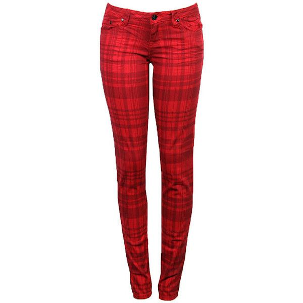 Bare Feet Shoes: Apparel Jeans | P229358 | RED PLAID | 97% Cotton 3%... ($25) ❤ liked on Polyvore featuring jeans, pants, bottoms, pantalones, calças, red skinny jeans, plaid skinny jeans, red plaid jeans, red jeans and plaid jeans