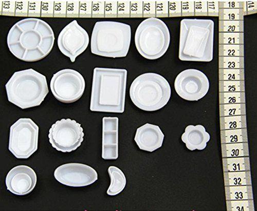 Amazon | SeleCreate ミニチュア お皿 食器 32点 セット 白 | プラモデル 通販