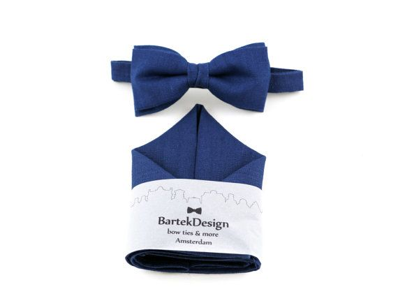 Blue Bow Tie & Pocket Handkerchief set linen by BartekDesign