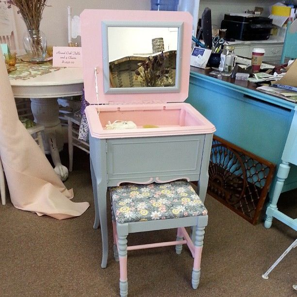old sewing cabinet made into a vanity