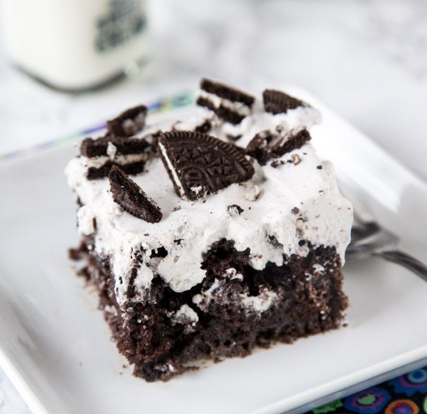 Oreo Poke Cake Recipe Desserts with chocolate cake mix, OREO® Cookies, sweetened condensed milk, pudding mix, milk, cool whip