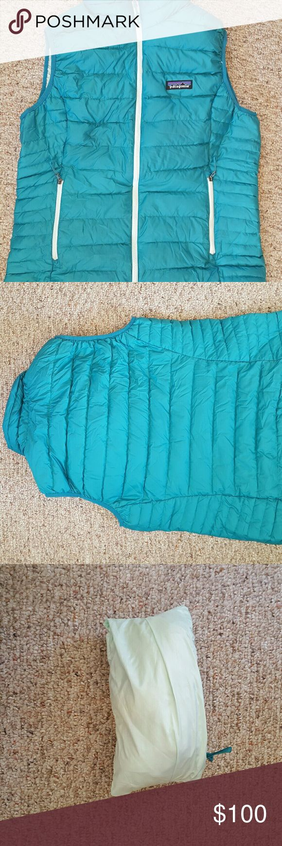 Patagonia Down Sweater Vest M Medium Excellent used Patagonia down sweater vest. Striking turquoise color. Super warm! A great thing about this vest is it has a built in pocket you can stuff it into - great for traveling or fitting in a purse! Nothing wrong with it just cleaning out my closet :) Patagonia Jackets & Coats Vests