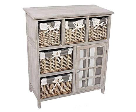 rangements salle de bains meuble de rangement bois et osier gris h73 ce meuble de rangement s. Black Bedroom Furniture Sets. Home Design Ideas