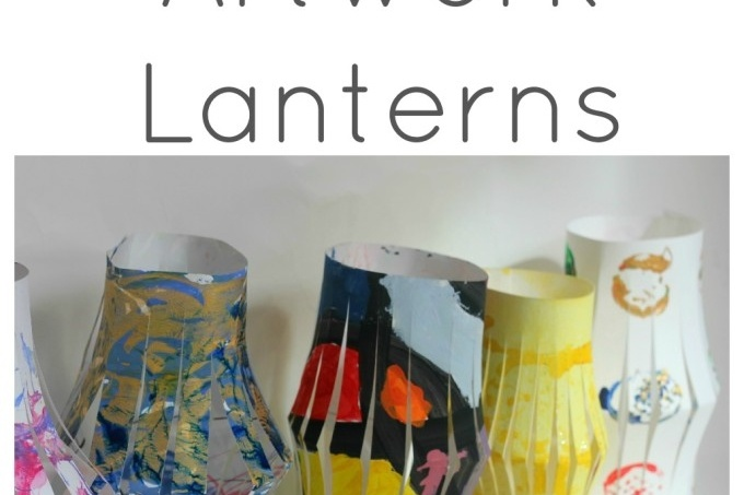 Upcycled Lanterns from Kids Art