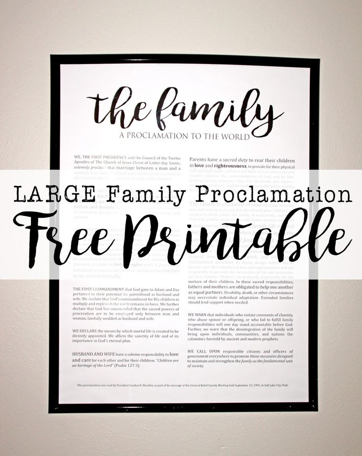 Impertinent image for family proclamation printable