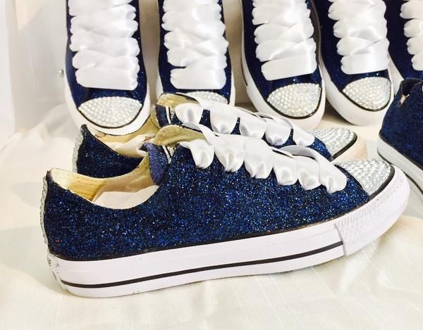 Womens Sparkly Navy Blue Glitter Crystals Converse All Stars sneakers  wedding bride shoes 5351ad0c5