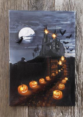 Haunted Halloween House Wall Canvas Art - The pumpkin pathway lights up with real LEDs!