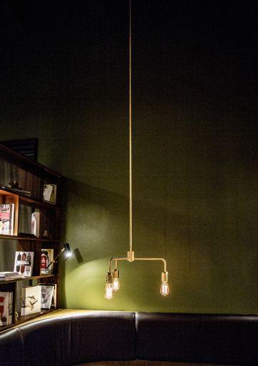 The Lord pendant light in brass by Niclas Hoflin for Rubn.