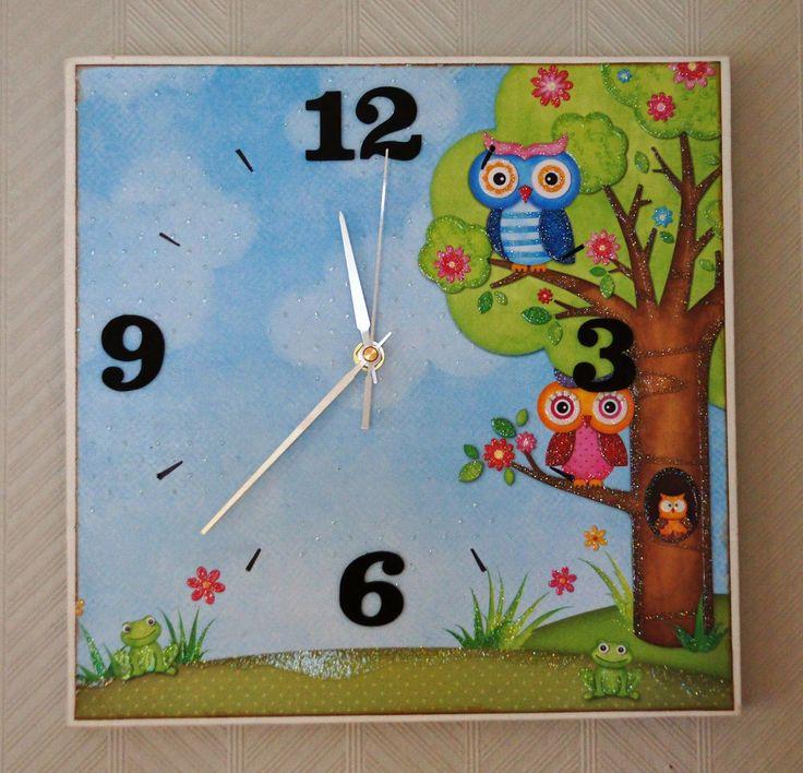 Kreative mamma: Klokke på lerret, make a clock on canvas.