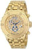"""Invicta Men's 12909 """"Subaqua"""" 18k Gold Ion-Plated Watch. Chronometer-certified 18k gold ion-plated watch with skeleton dial, exposed screws on bezel, and five-link bracelet. Swiss quartz movement with analog display. Protective synthetic sapphire crystal dial window. Features fold-over clasp with safety closure, date window, screw-down crown and pushers, chronograph functions with 60-second, 30-minute and 1/10th of a second subdials, and exhibition case back. Water resistant to 500 m (1640…"""