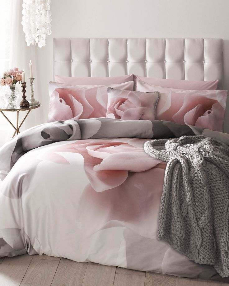 Ted baker Porcelain Rose super king duvet cover, pink and grey bedding, bedroom inspiration, pink bedroom, pink and grey home decor, velvet bed, ted baker