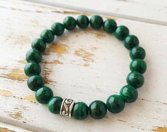 Braccialetto 6 millimetri Malachite, aggiungere un fascino, soldi Bracciale perline braccialetto Gemstone Bracciale intenzione gioielli Yoga Bracciale Mala perline gioielli
