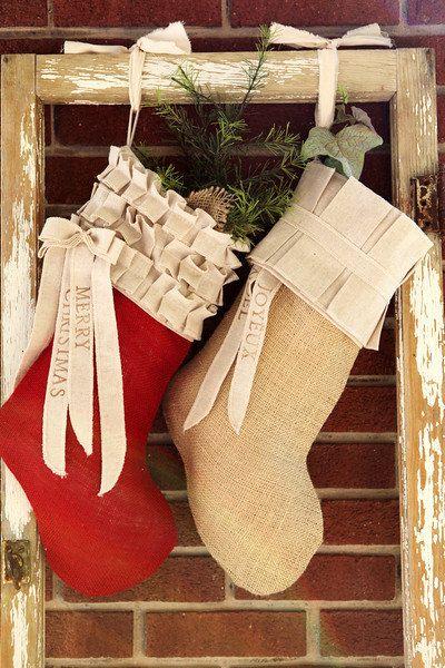 Red Burlap Christmas Stocking, cotton ruffles, custom, personalized. $87.00, via Etsy.