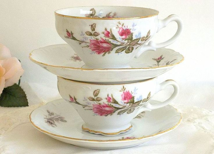teacups | Vintage Royal Rose china teacups and saucers set of TWO Moss Rose ...