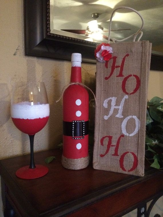 This is a perfect party gift hand painted wine glass with for Glass bottle gift ideas