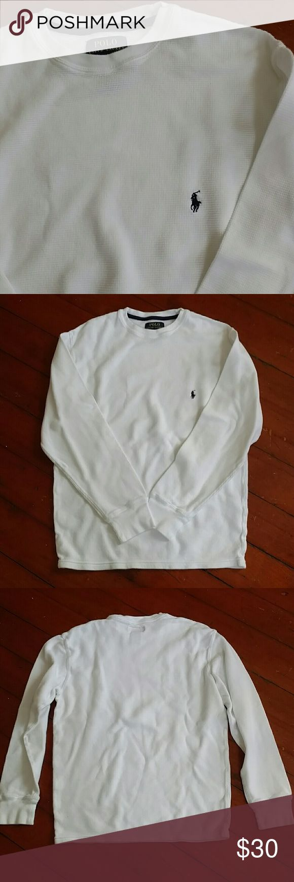White waffle knit shirt by Polo by Ralph Lauren M This is a white long sleeve waffle knit shirt by Polo by Ralph Lauren.  100% cotton. Men's medium. Polo by Ralph Lauren Shirts Tees - Long Sleeve