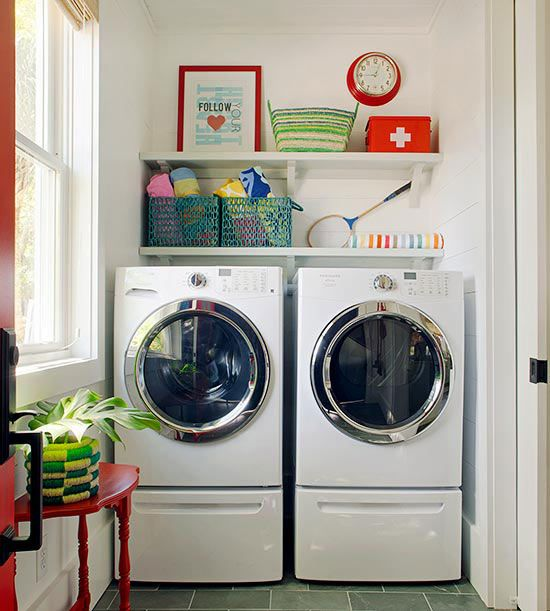 Keep your laundry room bright and airy with white walls and colorful accents: http://www.bhg.com/rooms/laundry-room/storage/laundry-room-storage-solutions/?socsrc=bhgpin010913appliancedrawers&page=3