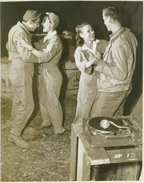 Red Cross girls dancing with soldiers ~