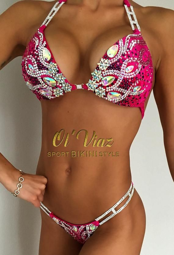 8d246656def68 Fuchsia Competition Bikini with Rhinestone   Crystals top and bottom. ☜♡☞  Top is embellished with Rhinestone   Crystal plus jeweled High Quality ...