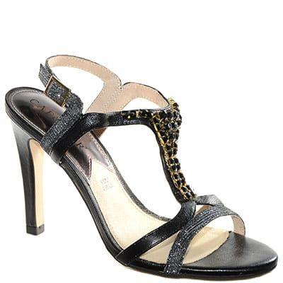 #Sandalo in glitter nero e tacco alto con accessorio gioiello.