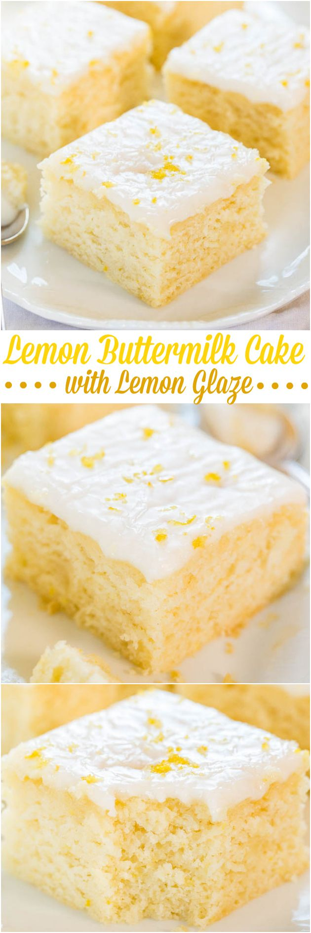 Lemon Buttermilk Cake with Lemon Glaze - An easy little cake with big lemon flavor!! Soft, fluffy, and foolproof if you like puckering up! Great springtime cake for #Easter, #MothersDay and #Brunch !